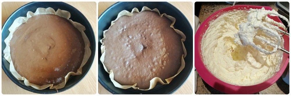 upečený kakaový korpus a tvarohový krém